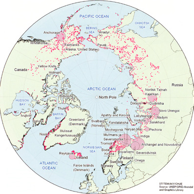 population concentrations in the arctic region Population in agglomerations 400 000 100 000 20 000 200 000 50 000 The little red dots indicate concentrations of fewer than 20 000 people and very