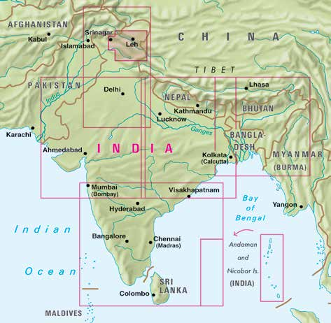Indien Nelles Map India - North 1:1,5 mio. 9783865742308 - Ladakh Zanskar 9783865742674 - West 1:1,5 mio. 9783865742339 - East 1:1,5 mio.