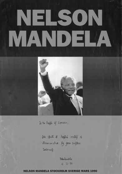Mandelas budskap vid besök i Sverige mars 1990:To the pople of Sweden: The Path towards peoples' victory is