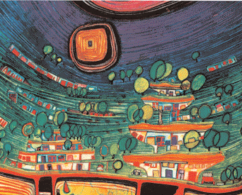 THE HOUSES ARE HAN- GING UNDERNEATH THE WOODS (MEADOWS), BLANDTEKNIK, BOGENHAUSEN 1971. HUNDERTWASSER ARCHIVE,WIEN. Handlingens rum.