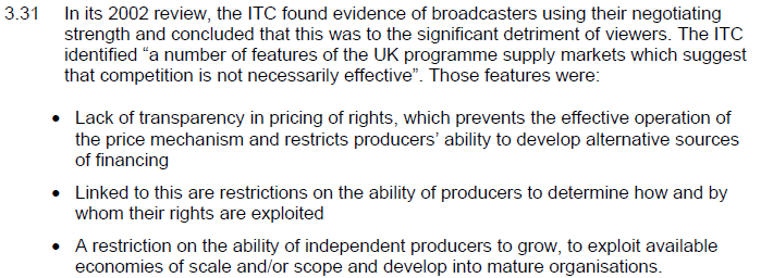 Box 5 Mediehusen i Storbritannien har bekymmersam köparmakt Källa: OFCOM (2006), Review of the television production sector, s.
