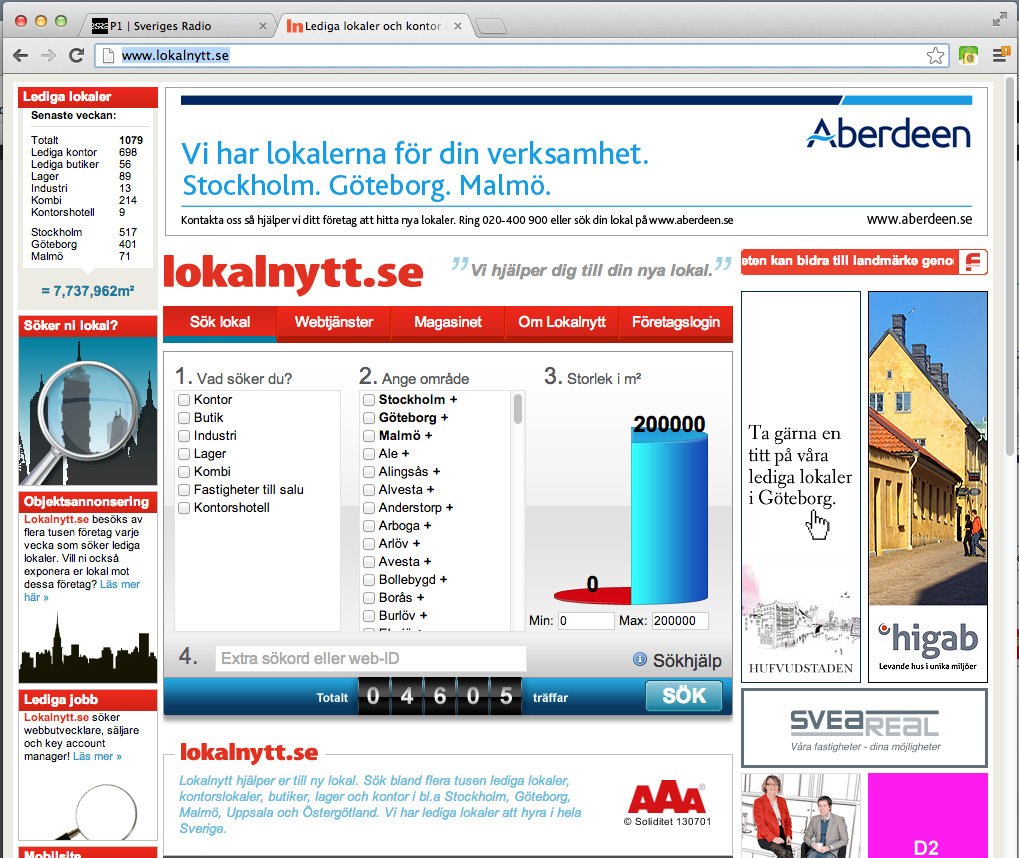 Advertising Example website: www.lokalguiden.