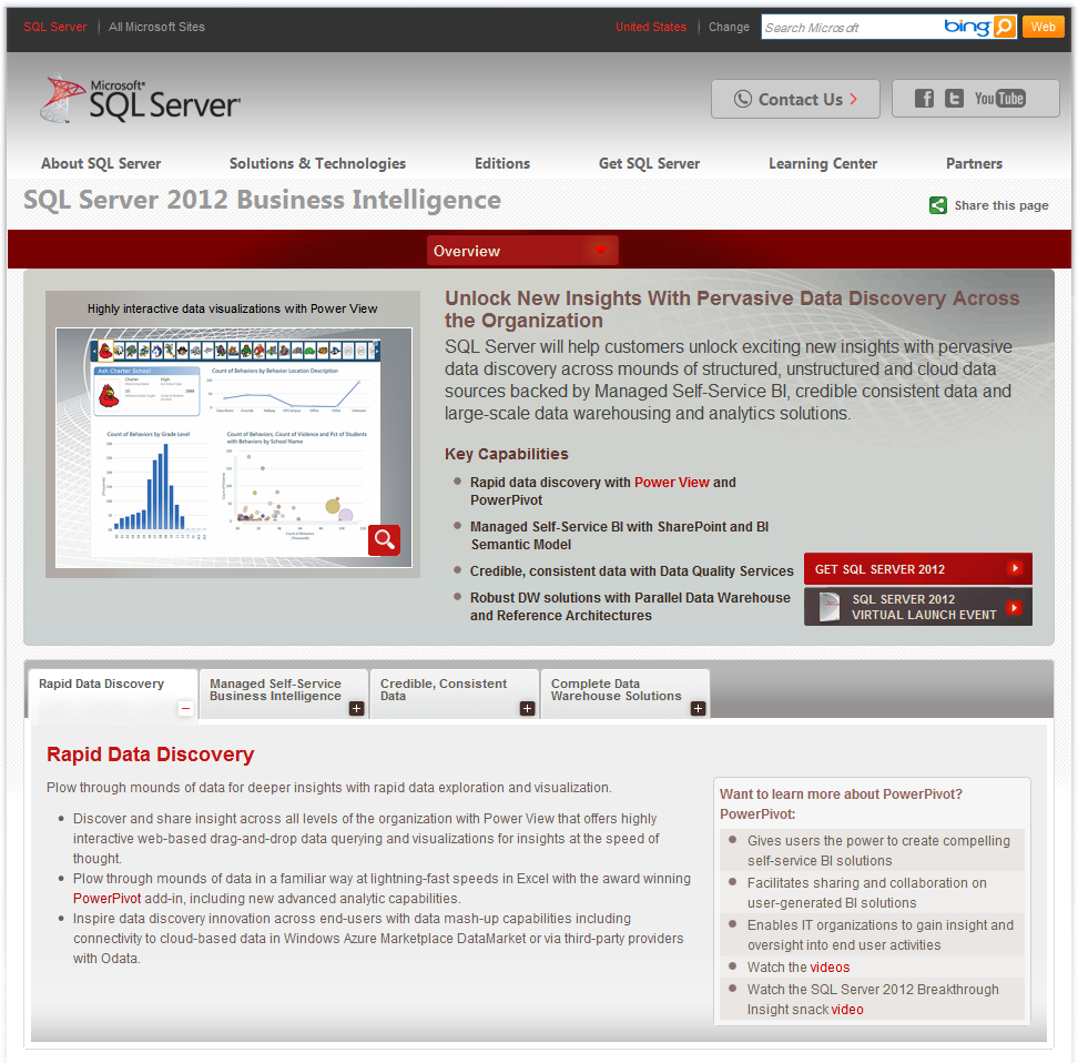 SQL Server 2012 Business Intelligence http://www.microso ft.