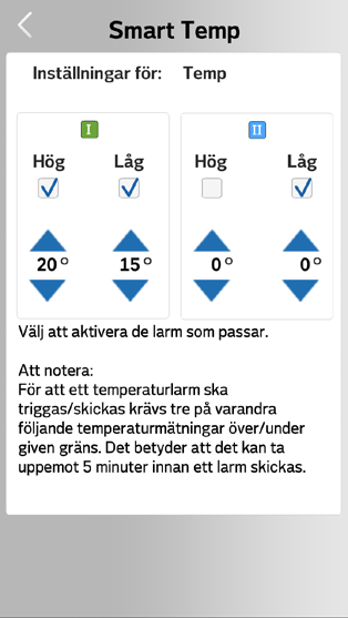Exempel på hur en temperaturnotifikation kan se ut på Android. Notera Smart Kund Gotlandikonen i telefonens notifikationsrad. Expanderar man sedan notifikationsraden kan man läsa pushnotisen.