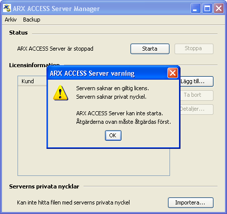 ARX ACCESS Server Manager (utan licenser eller privata