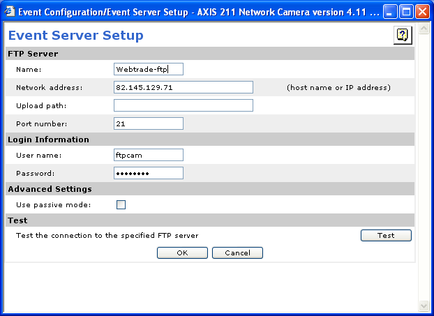 SS-ISO 9002/4.5 Kam Mera4342-1.doc Sida 10 av 16 8. Välj Event Servers under Event Configuration och knappen Add FTP.... Fyll i: a. Name: Kam-Mera-ftp. b. Network address: 82.145.129.71 c.