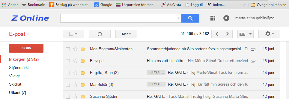 Google E-post I Google Apps for Education (GAFE) ingår motsvarande Googles G-mail som e-postprogram.