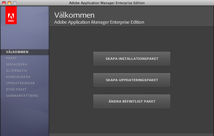Använda Adobe Application Manager 2.