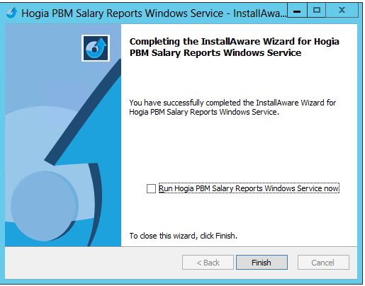 Hogia HR Webb produkter 14.2 23 (37) Installationen av Salary Reports Windows Service är nu klar.