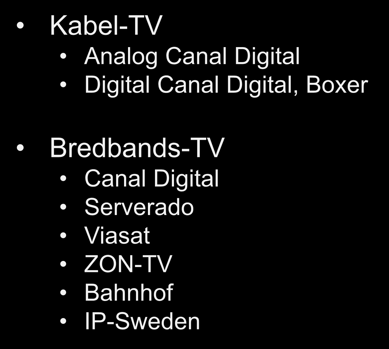 TV-lösningar i Falu Stadsnät Kabel-TV Analog Canal Digital Digital Canal