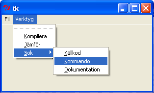 fortsättning på menykod. # Skapa en undermeny till sökalternativet searchmenu = Menu(tools, tearoff=0) searchmenu.add_command(label='källkod', command = notimplemented, underline=0) searchmenu.