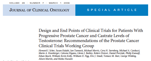 PCWG2 To update eligibility and outcome measures in trials that evaluate systemic treatment for patients with progressive prostate cancer and castrate levels of testosterone.