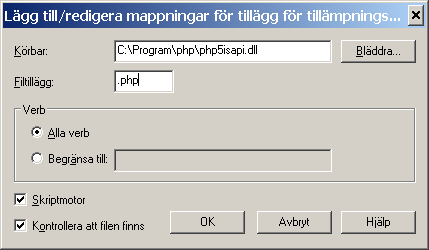 "[HKEY_LOCAL_MACHINE\SOFTWARE\PHP] ""IniFilePath""=""C:\\Program\\php"" 6. Dubbelklicka på filen pws-php5isapi."