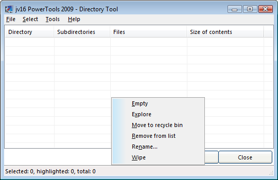 Directory Tool Image 49. The Directory Tool allows you to list and modify directories Directory Tool är lik File Tool, men den skapades för att lista mappar.