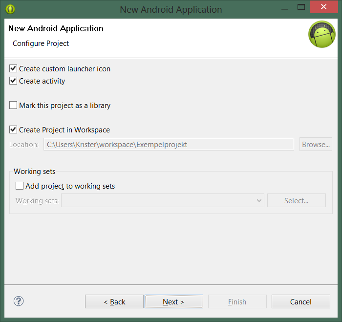 5. Låt Create custom launcher icon, Create activity och Create Project in Workspace vara