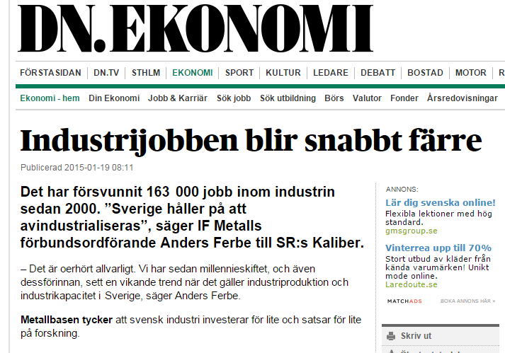 Index 2010 = 100 130 120 110 100 90 80 Industrins produktion och orderingång januari 2000 - september 2014 Industriproduktion
