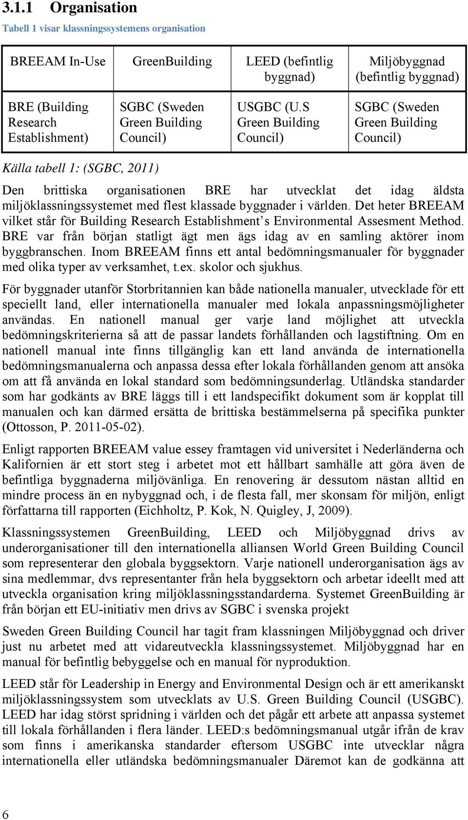 S Green Building Council) SGBC (Sweden Green Building Council) Källa tabell 1: (SGBC, 2011) Den brittiska organisationen BRE har utvecklat det idag äldsta miljöklassningssystemet med flest klassade