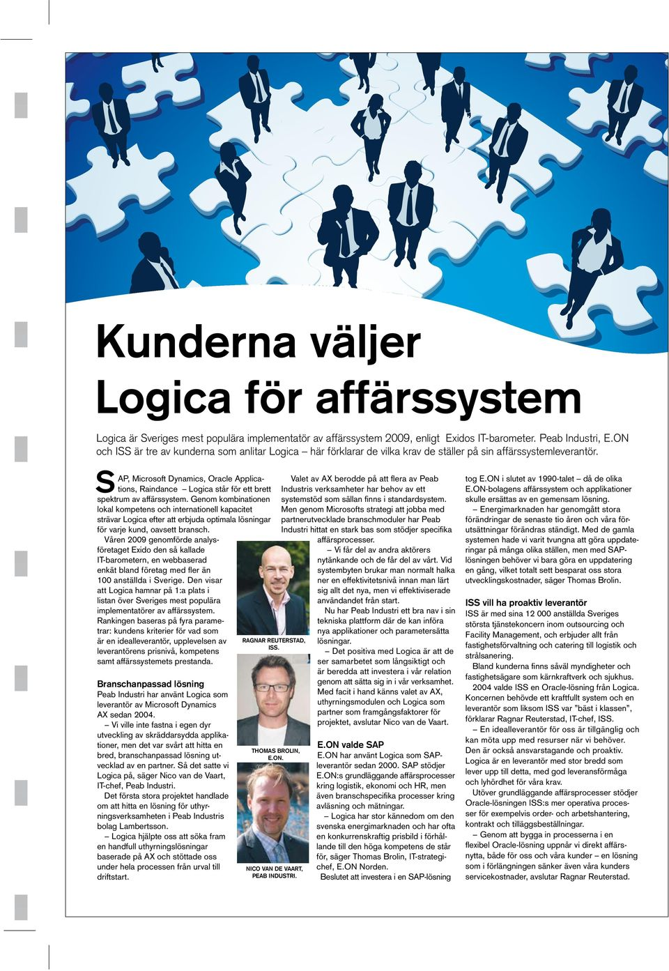 S AP, Microsoft Dynamics, Oracle Applications, Raindance Logica står för ett brett spektrum av affärssystem.