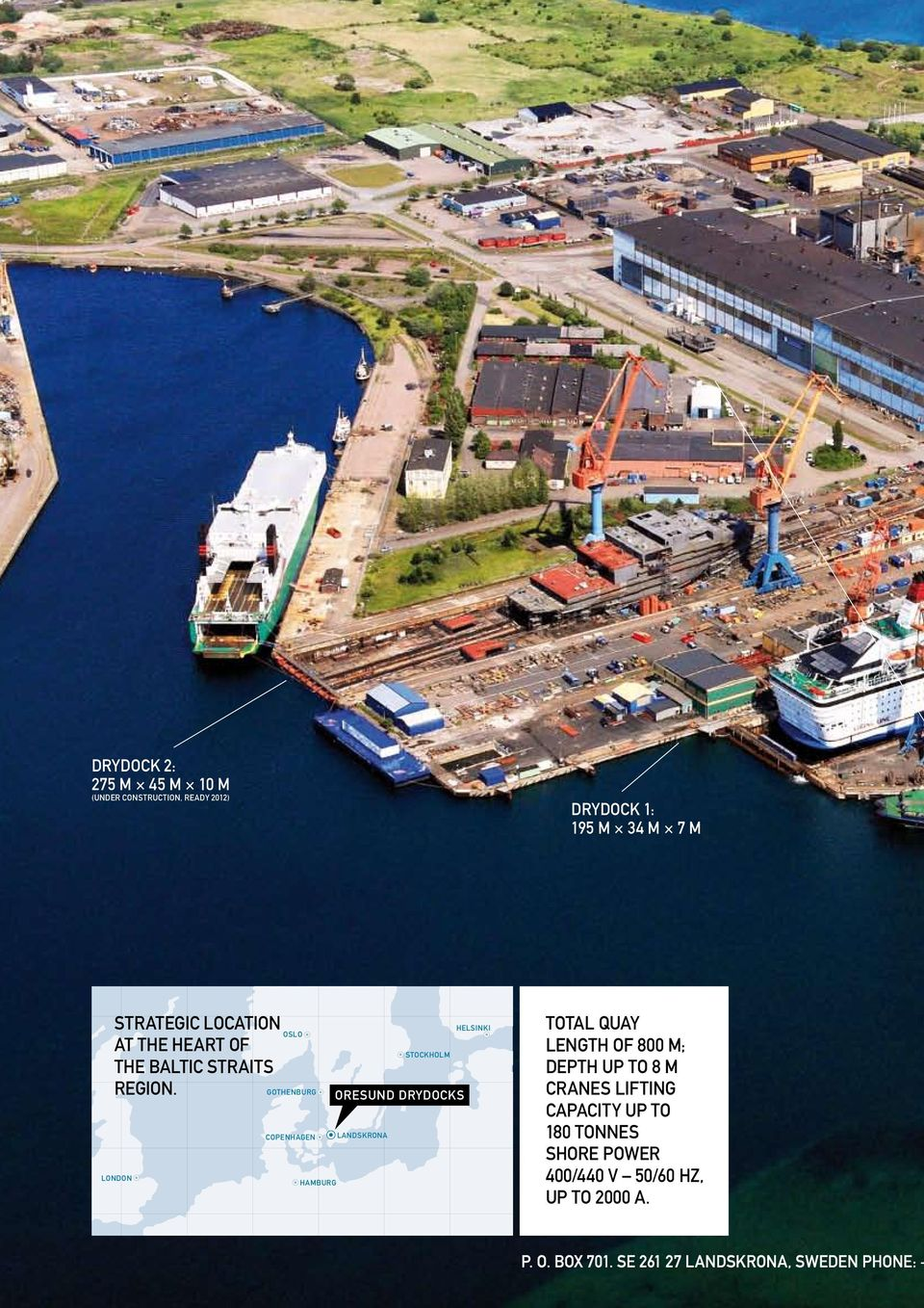 LONDON OSLO GOTHENBURG COPENHAGEN HAMBURG STOCKHOLM ORESUND DRYDOCKS LANDSKRONA HELSINKI TOTAL QUAY LENGTH OF