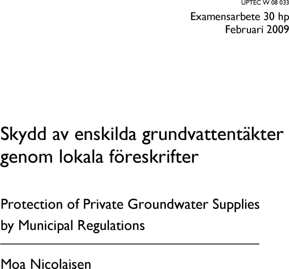 föreskrifter Protection of Private Groundwater