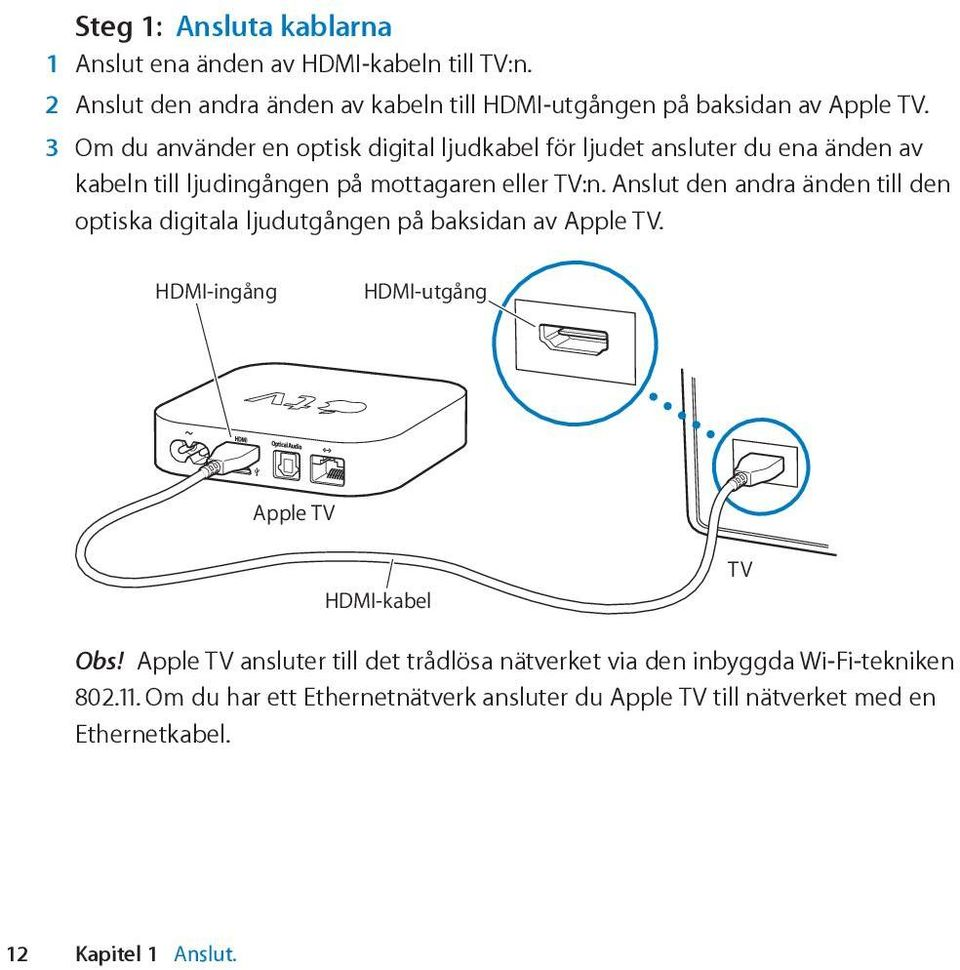 Anslut den andra änden till den optiska digitala ljudutgången på baksidan av Apple TV. HDMI-ingång HDMI-utgång Apple TV HDMI-kabel TV Obs!