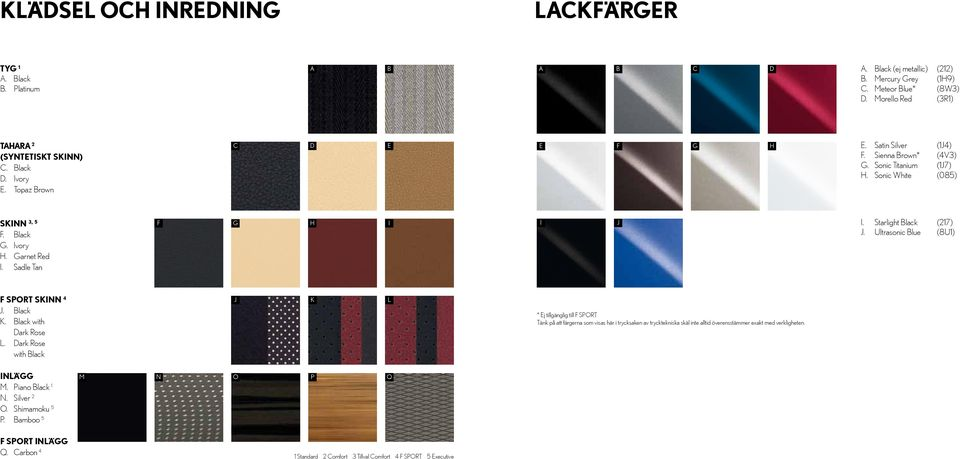 Sadle Tan F G H I I J I. Starlight Black (217) J. Ultrasonic Blue (8U1) F SPORT SKINN 4 J. Black K. Black with Dark Rose L.