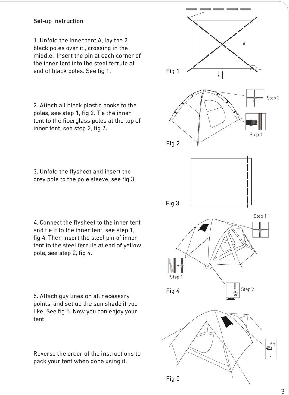 Unfold the flysheet and insert the grey pole to the pole sleeve, see fig 3. Fig 3 4. Connect the flysheet to the inner tent and tie it to the inner tent, see step 1, fig 4.