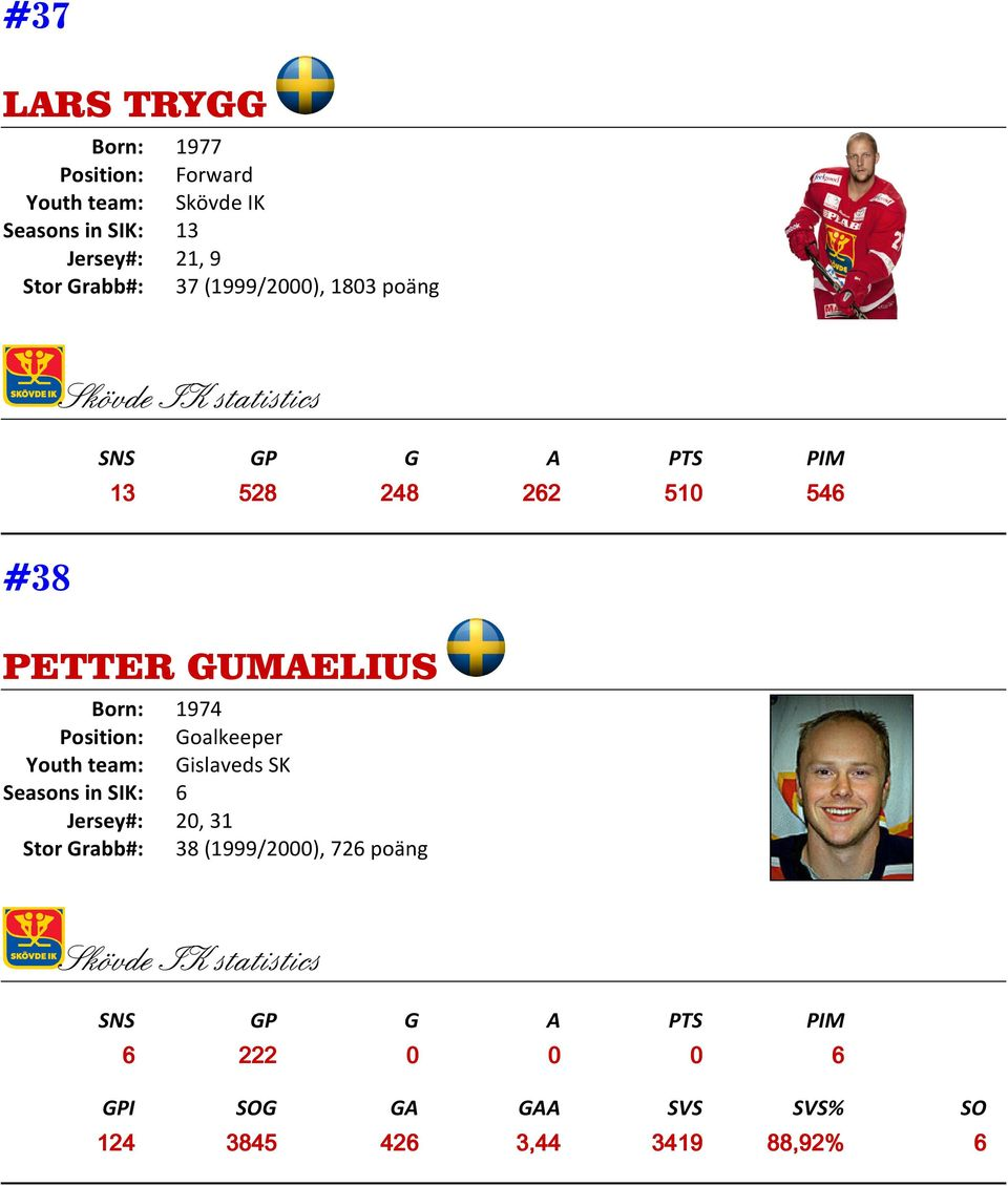 Position: Goalkeeper Youth team: Gislaveds SK Seasons in SIK: 6 Jersey#: 20, 31 Stor