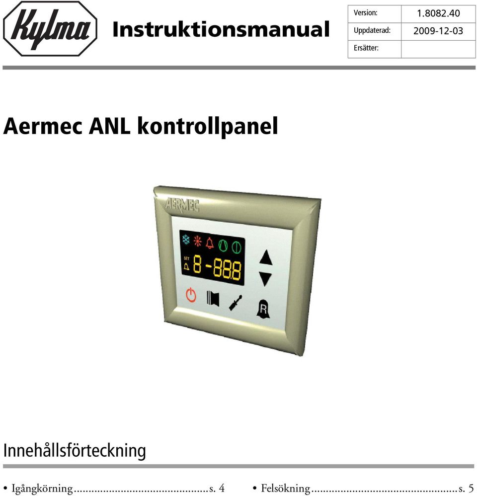 Aermec ANL kontrollpanel