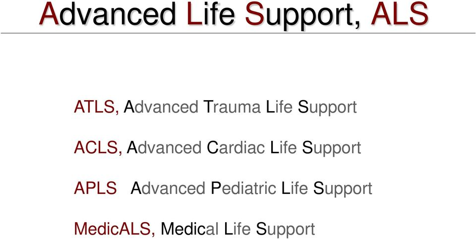 Cardiac Life Support APLS Advanced