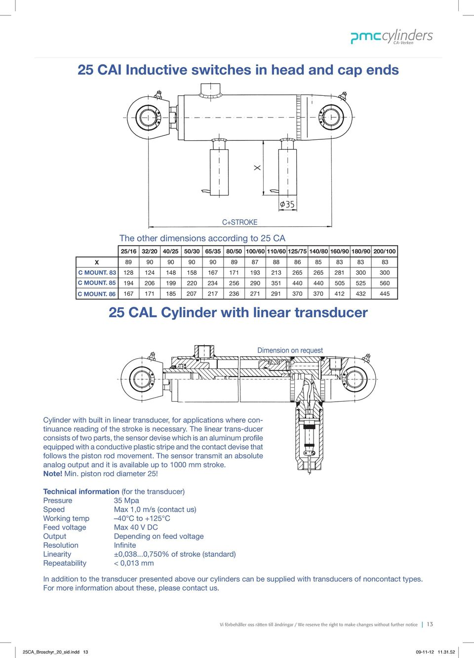 445 cal cylinder with linear transducer Dimension on request Cylinder with built in linear transducer, for applications where continuance reading of the stroke is necessary.