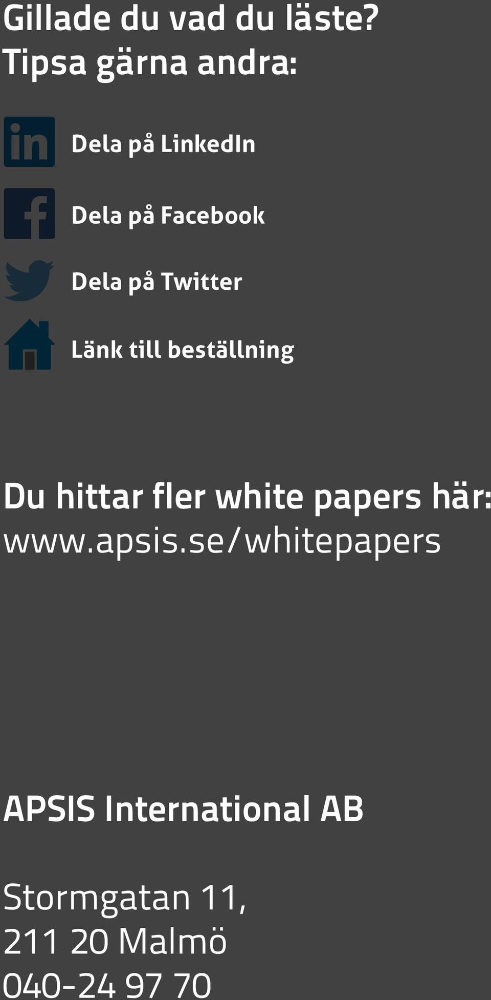 papers här: www.apsis.