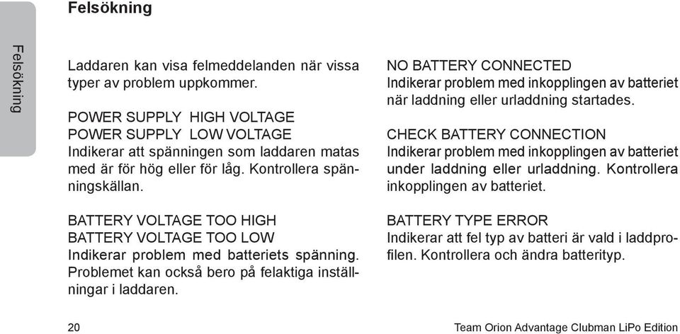 NO BATTERY CONNECTED Indikerar problem med inkopplingen av batteriet när laddning eller urladdning startades.
