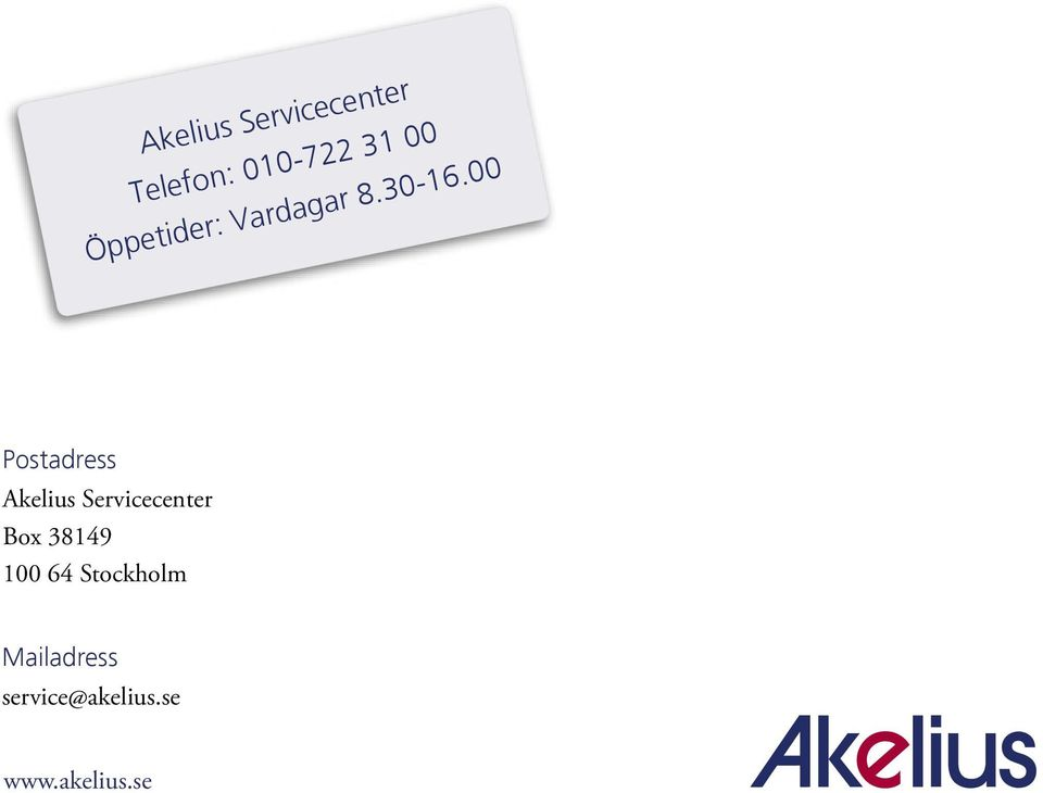 00 Postadress Akelius Servicecenter Box