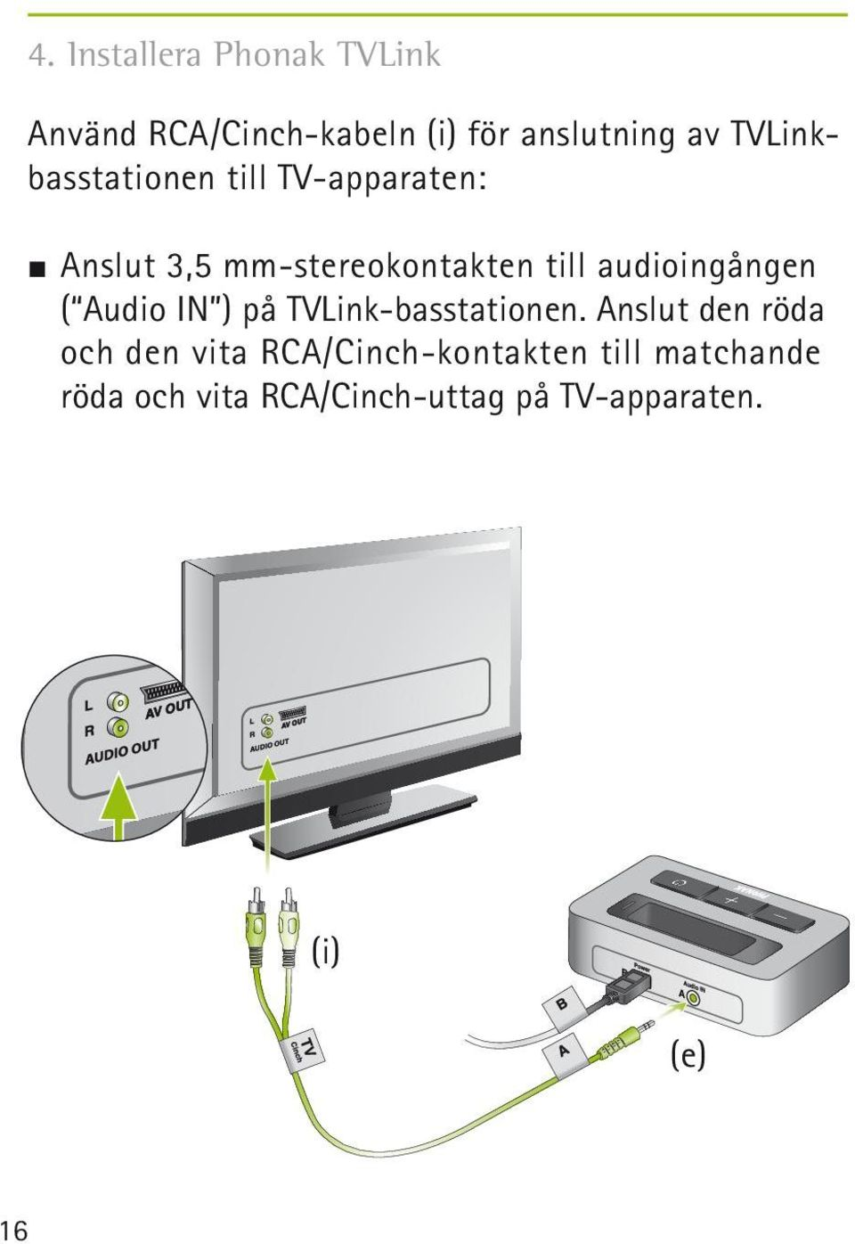 audioingången ( Audio IN ) på TVLink-basstationen.