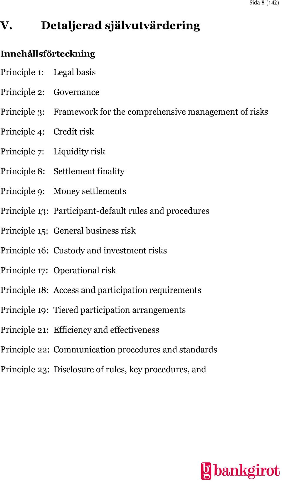 Credit risk Principle 7: Liquidity risk Principle 8: Settlement finality Principle 9: Money settlements Principle 13: Participant-default rules and procedures Principle 15: