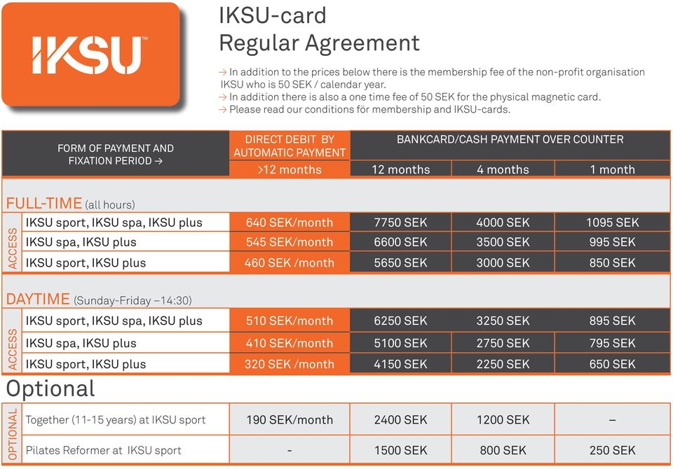 FORM OF PAYMENT AND FIXATION PERIOD DIRECT DEBIT BY BANKCARD/CASH PAYMENT OVER COUNTER AUTOMATIC PAYMENT >12 months 12 months 4 months 1 month FULL-TIME (all hours) IKSU sport, IKSU spa, IKSU plus