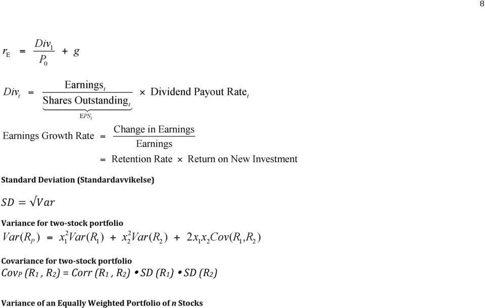 Retention Rate Covariance for two- stock portfolio CovP (R, R2) = Corr (R, R2) SD (R) SD (R2) Return on New