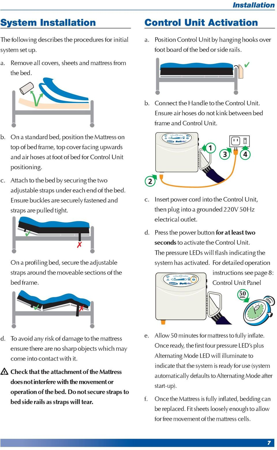 Ensure air hoses do not kink between bed frame and Control Unit. b. On a standard bed, position the Mattress on top of bed frame, top cover facing upwards and air hoses at foot of bed for Control Unit positioning.