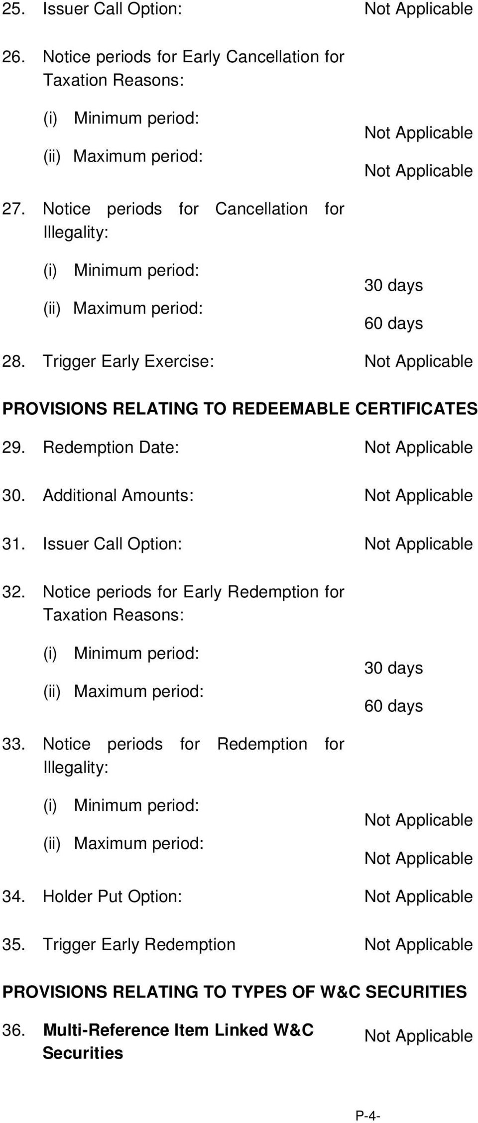 Redemption Date: 30. Additional Amounts: 31. Issuer Call Option: 32.