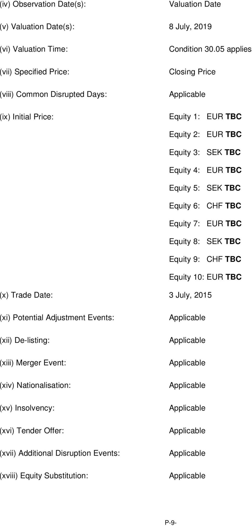 TBC Equity 9: CHF TBC Equity 10: EUR TBC (x) Trade Date: 3 July, 2015 (xi) Potential Adjustment Events: (xii) De-listing: (xiii) Merger Event: (xiv) Nationalisation: (xv)