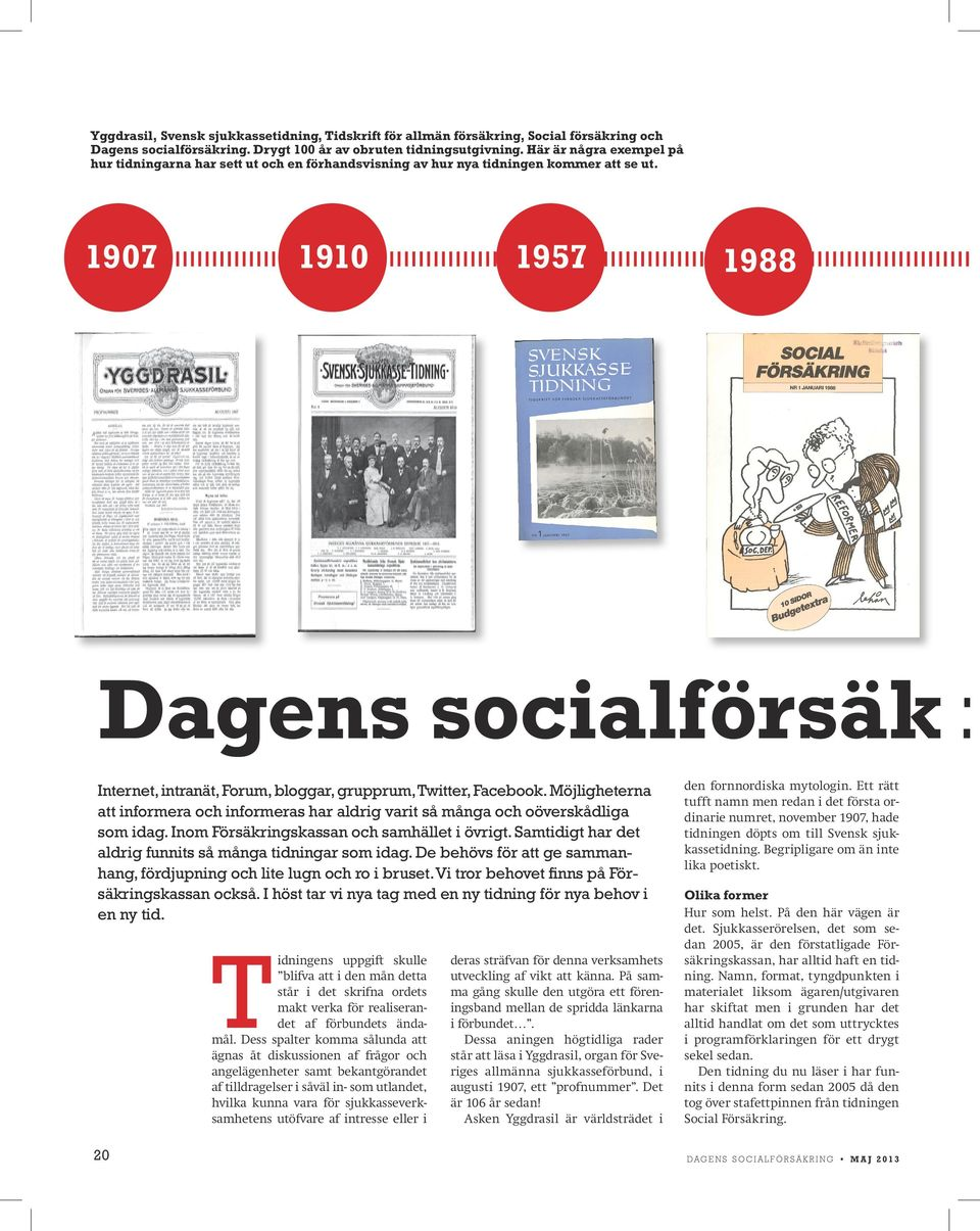 1907 1910 1957 1988 Dagens socialförsäk r Internet, intranät, Forum, bloggar, grupprum, Twitter, Facebook.