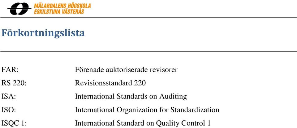 Standards on Auditing ISO: International Organization for