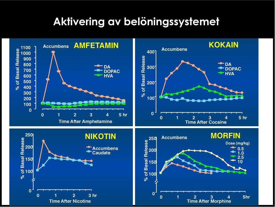 "1"" 2"" 3"" 4"" 5 hr"" Time After Cocaine"" % of Basal Release"" 250"" 200"" 150"" 100"" NIKOTIN"" Accumbens"" Caudate"" % of Basal Release"" 250"" 200"""