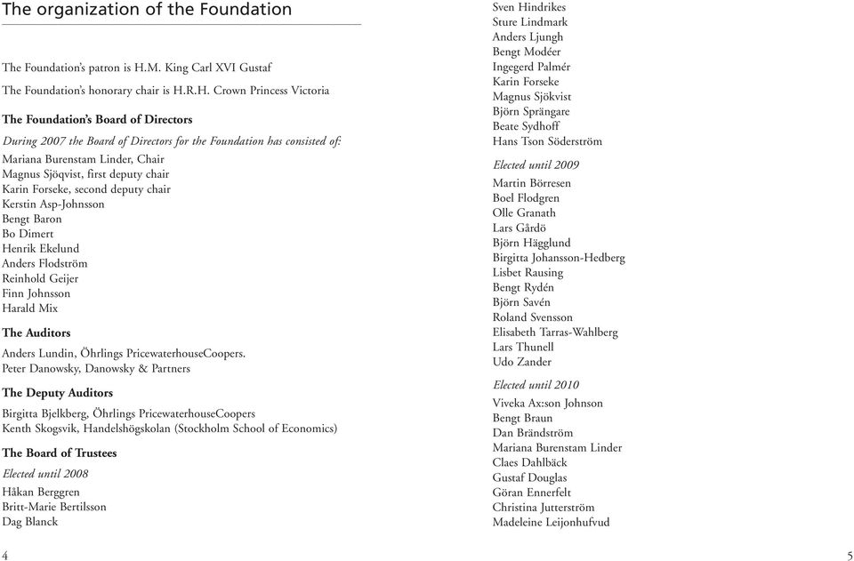 R.H. Crown Princess Victoria The Foundation s Board of Directors During 2007 the Board of Directors for the Foundation has consisted of: Mariana Burenstam Linder, Chair Magnus Sjöqvist, first deputy