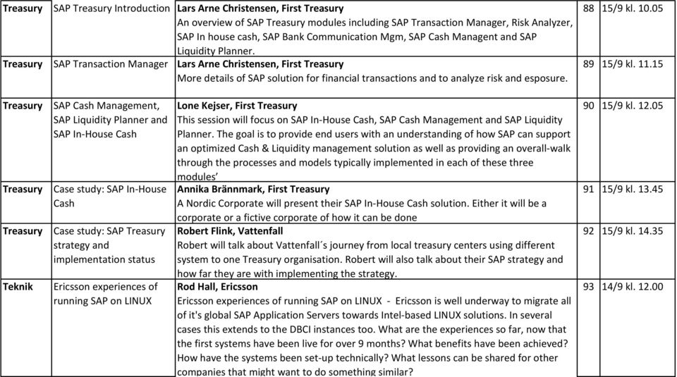 Treasury SAP Transaction Manager Lars Arne Christensen, First Treasury More details of SAP solution for financial transactions and to analyze risk and esposure. 88 15/9 kl. 10.05 89 15/9 kl. 11.