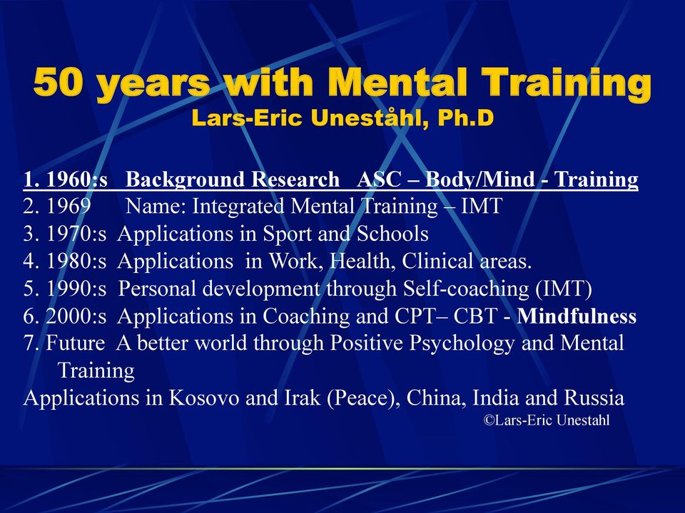 1980:s Applications in Work, Health, Clinical areas. 5. 1990:s Personal development through Self-coaching (IMT) 6.