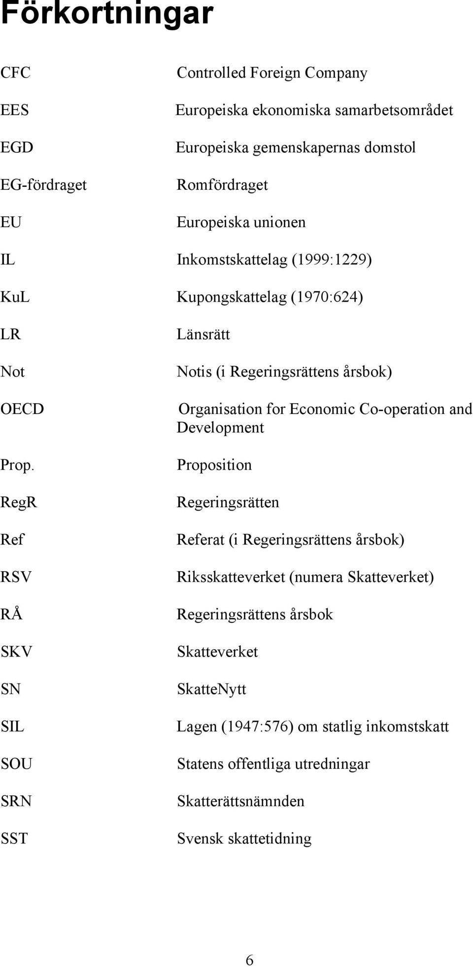 RegR Ref RSV RÅ SKV SN SIL SOU SRN SST Länsrätt Notis (i Regeringsrättens årsbok) Organisation for Economic Co-operation and Development Proposition