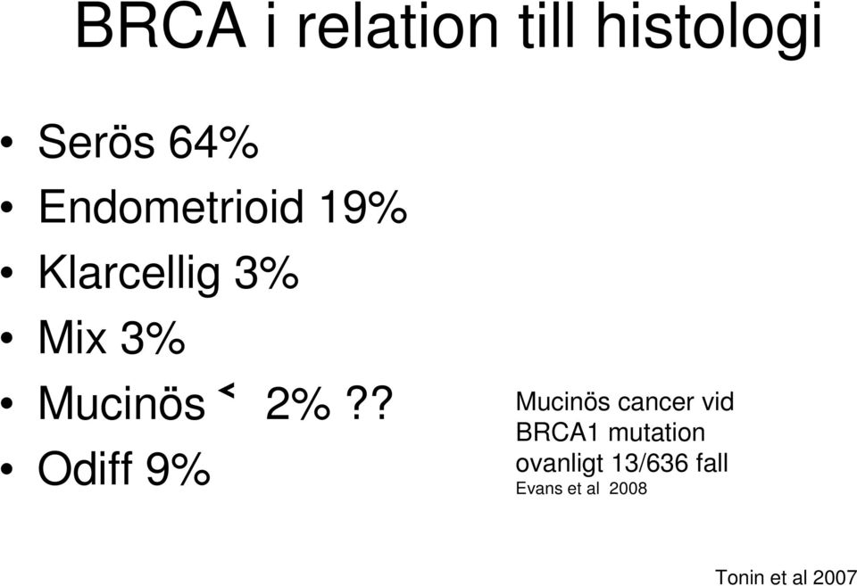 2%?? Odiff 9% Mucinös cancer vid BRCA1 mutation