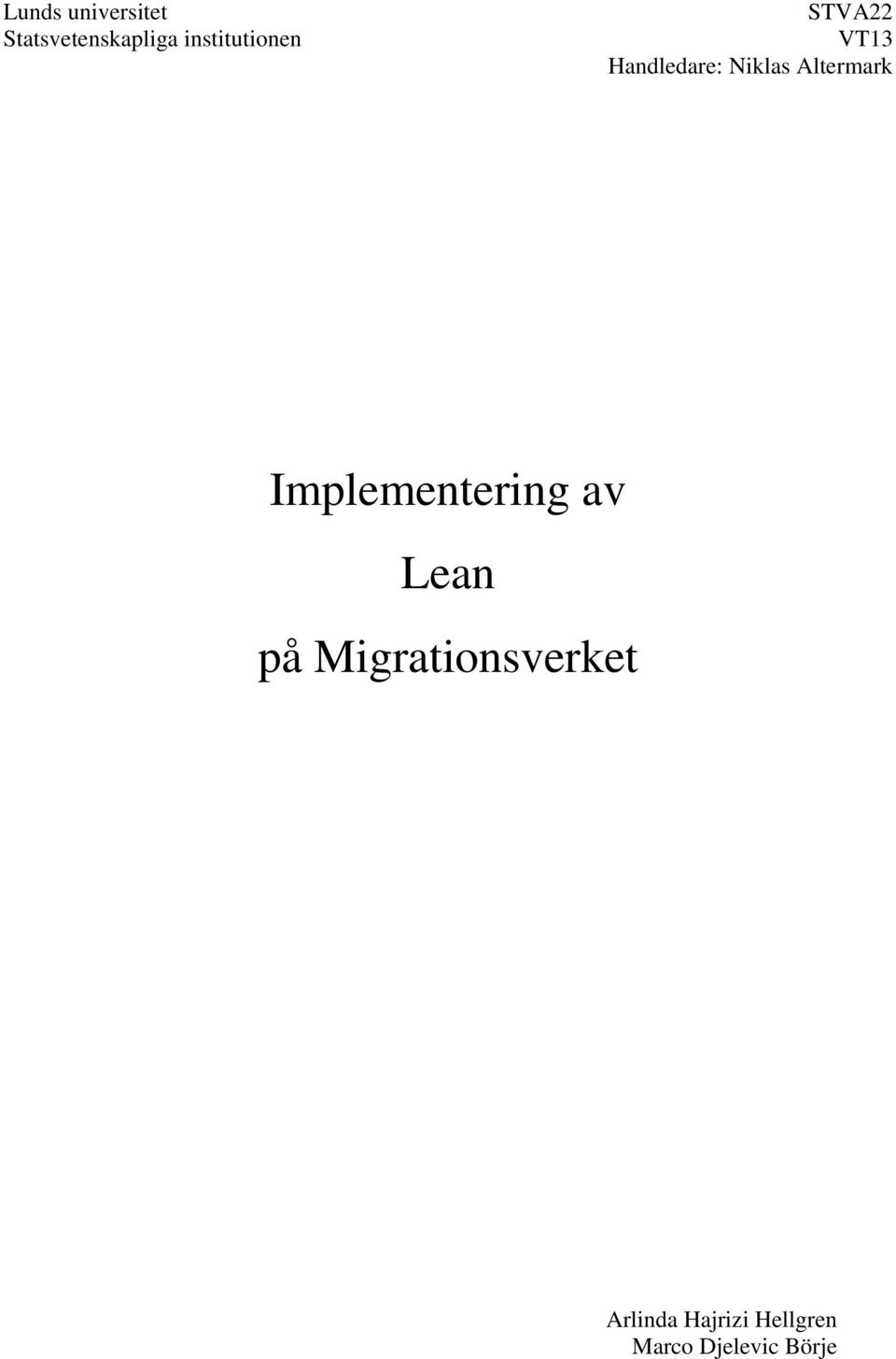 Altermark Implementering av Lean på